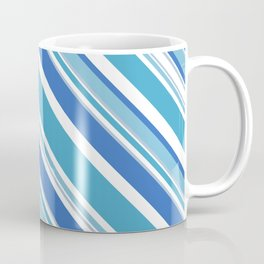 Trendy Icy Blue and White Stripes Diagonal Pattern Coffee Mug