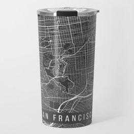 San Francisco Map, California USA - Charcoal Portrait Travel Mug