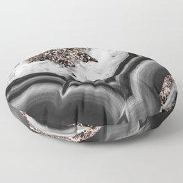 Gray Black White Agate with Rose Gold Glitter #2 #gem #decor #art #society6 Floor Pillow