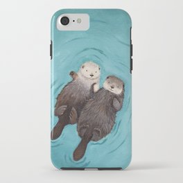Otterly Romantic - Otters Holding Hands iPhone Case