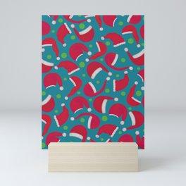 Tossed Santa Hats - Turqouise Mini Art Print