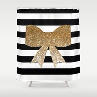 bows Shower Curtains featuring Golden Bows by Pink Berry Patterns