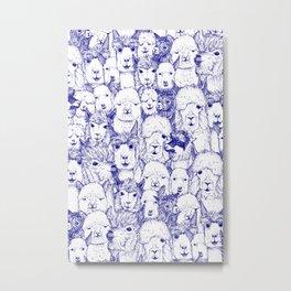 just alpacas blue white Metal Print