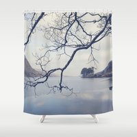 lake Shower Curtains featuring Lake by Marie Carr
