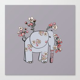 Elephant with Cherry Blossoms Canvas Print