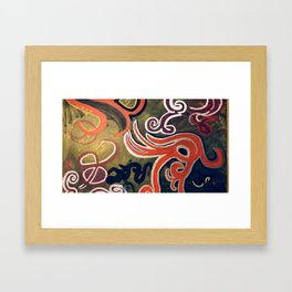 Green and Red Abstract Painting Framed Art Print