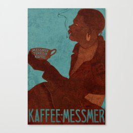 Vintage Red and Teal Turkish Coffee Woman with Cigarette Canvas Print