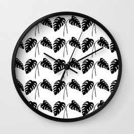 Tropical Monstera Leaves Black on White Wall Clock