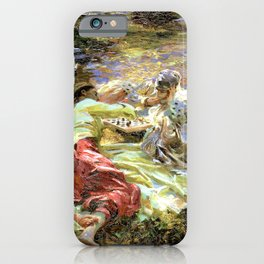 The Chess Game by John Singer Sargent - Vintage Fine Art Oil Painting iPhone Case