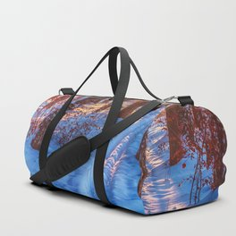Ski track in the winter forest Duffle Bag