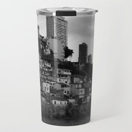Black and white photo of a favela taken from the water Travel Mug