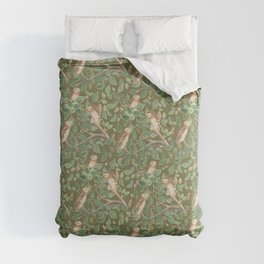 FOREST OWLS - Olive Green  Comforters