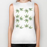 marijuana Biker Tanks featuring Marijuana Leaves  by Limitless Design