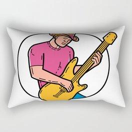 Cowboy Rocker Guitarist Mono Line Art Rectangular Pillow