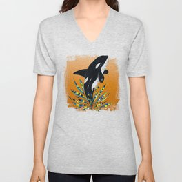 Cute Orca Whale Orange Doodle Splash Unisex V-Neck