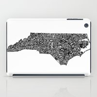north carolina iPad Cases featuring Typographic North Carolina by CAPow!
