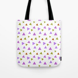 Geometrical violet purple lime green triangles pattern Tote Bag
