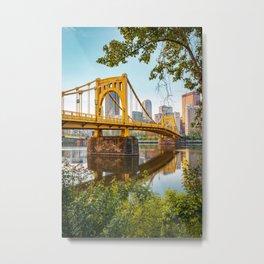 Pittsburgh City Skyline Bridge View Framed Metal Print