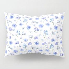 Elegant blush blue yellow watercolor floral pattern Pillow Sham