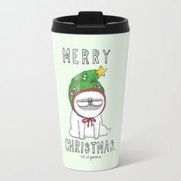 Grumpy Christmas puggy Travel Mug