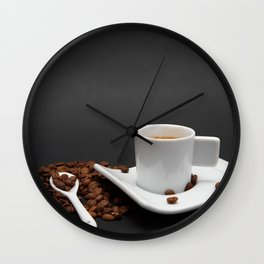 Cup of coffee and coffee beans on black background Wall Clock