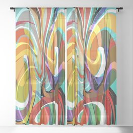 Colorful Abstract Whirly Swirls - V1 Sheer Curtain