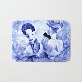 A Blue Holiday Bath Mat