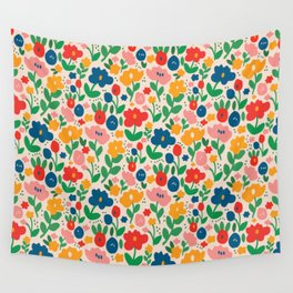 Retro Floral Realness Wall Tapestry