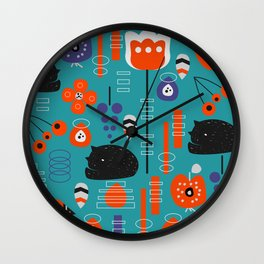 Modern birds and sleepy cats Wall Clock