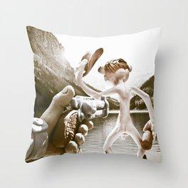 Naked Cowboy (retro color) Throw Pillow