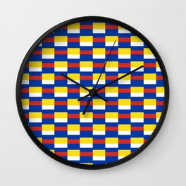 Mix of flag:  Russia and ukraine Wall Clock