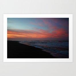 Beautiful Sunset Over The Caribbean Ocean in Costa Rica Art Print