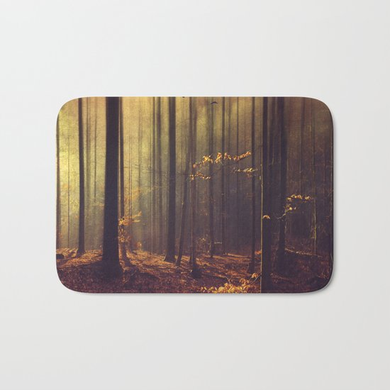 Light Hunters - Abstract orest in Sunlight Bath Mat