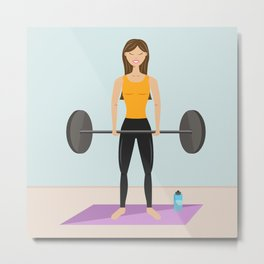 Strong Fitness Girl Deadlifting Weights Cartoon Illustration Metal Print