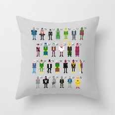 Pixel Supervillain Alphabet Throw Pillow