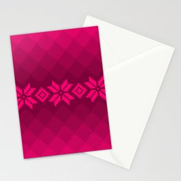 Pink knitted pattern Stationery Cards