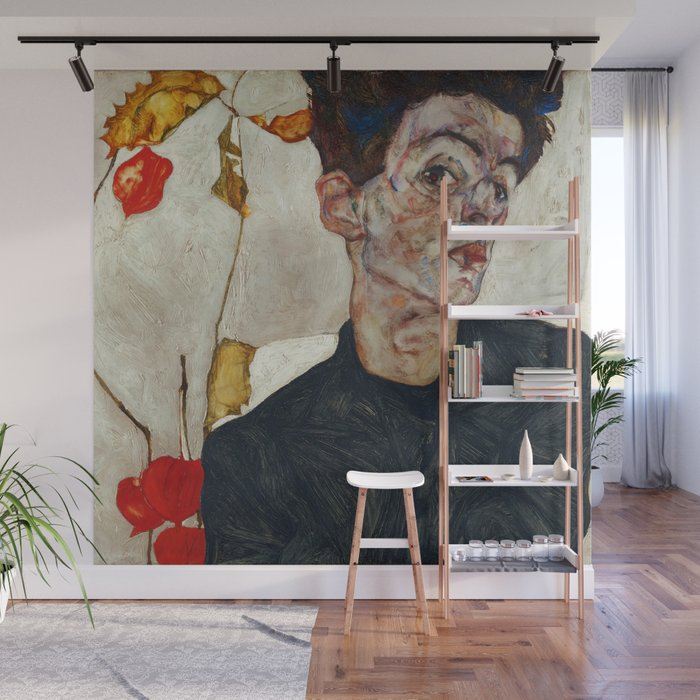 "Egon Schiele ""Self-Portrait with Physalis"" Wall Mural"