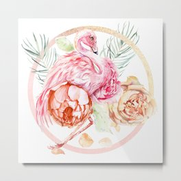 Shimmering Rose Gold Flamingo With Flowers And Fronds Metal Print