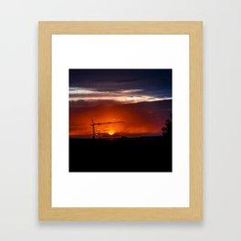 Black Crane Over Setting Sun Framed Art Print