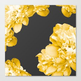 Yellow Flowers On A Dark Background #decor #society #homedecor Canvas Print