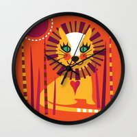 leo Wall Clocks featuring Leo by Shirley Copperwhite