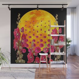 SURREAL HOLLYHOCKS RISING GOLDEN MOON PATTERN Wall Mural