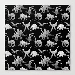 Black and White Dinos Canvas Print