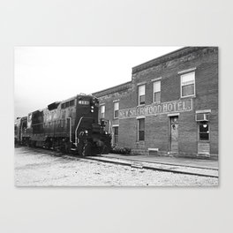 Train and Sherwood Hotel Canvas Print