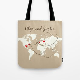 Personalized World Map Love Story Tote Bag