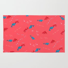 Pink Shark and Dolphin Rug
