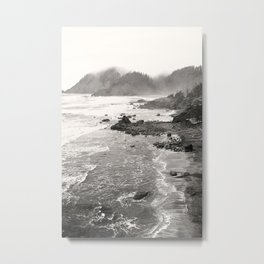 Pacific Ocean Beach Landscape Oregon Coast Northwest PNW Volcano Forest Nature Outdoors Basalt Wilde Metal Print