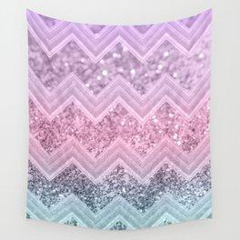 Unicorn Glitter Chevron #1 #pastel #shiny #decor #art #society6 Wall Tapestry