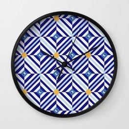 Blue Flowers // Diamond Pattern Wall Clock