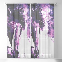 three wild horses ws ls Sheer Curtain